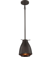 "Picture for category Pendants 1 Light Fixtures With Dark Bronze with Copper mesh Tone Finish LED Bulb 7"" 12 Watts"