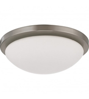 "Picture for category Flush Mounts 1 Light Fixtures With Brushed Nickel Tone Finish LED Bulb 11"" 18 Watts"