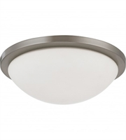 "Picture for category Flush Mounts 1 Light Fixtures With Brushed Nickel Tone Finish LED Bulb 13"" 18 Watts"