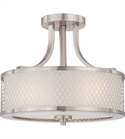 "Picture for category Semi Flush 3 Light Fixtures With Brushed Nickel Finish Metal Material Medium Bulb 14"" 180 Watts"