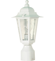 "Picture for category Outdoor Post 1 Light Fixtures With White Finish Aluminum Material Medium Bulb 7"" 60 Watts"