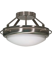 "Picture for category Semi Flush 2 Light Fixtures With Brushed Nickel Finish Iron Material Medium Bulb 14"" 120 Watts"