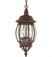 "Picture for category Outdoor Pendant 3 Light Fixtures With Old Bronze Finish Aluminum Material Candelabra Bulb 7"" 180 Watts"