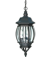 "Picture for category Outdoor Pendant 3 Light Fixtures With Textured Black Finish Aluminum Material Candelabra Bulb 7"" 180 Watts"
