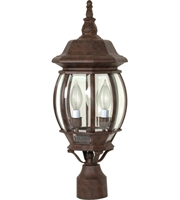 "Picture for category Outdoor Post 3 Light Fixtures With Old Bronze Finish Aluminum Material Candelabra Bulb 7"" 180 Watts"