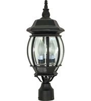 "Picture for category Outdoor Post 3 Light Fixtures With Textured Black Finish Aluminum Material Candelabra Bulb 7"" 180 Watts"