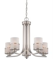 Picture for category Chandeliers 5 Light With Brushed Nickel Finish Metal Medium Base 23 inch 300 Watts