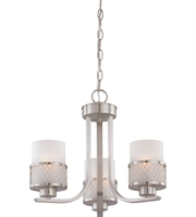 "Picture for category Chandeliers 3 Light Fixtures With Brushed Nickel Finish Metal Material Medium Bulb 18"" 180 Watts"
