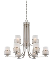 "Picture for category Chandeliers 9 Light Fixtures With Brushed Nickel Finish Metal Material Medium Bulb 31"" 540 Watts"