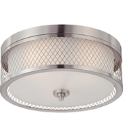 "Picture for category Flush Mounts 3 Light Fixtures With Brushed Nickel Finish Metal Material Medium Bulb 15"" 180 Watts"