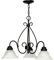 "Picture for category Chandeliers 3 Light Fixtures With Textured Black Finish Metal Material Medium Bulb 26"" 180 Watts"