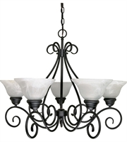Picture for category Chandeliers 5 Light With Textured Black Finish Metal Medium Base 28 inch 300 Watts