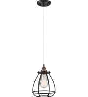 Picture for category Pendants 1 Light With Rustic Bronze Finish Metal Material E26 Bulb 8 inch 100 Watts
