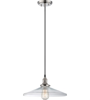 "Picture for category Pendants 1 Light Fixtures With Polished Nickel Finish Metal Material E26 Bulb 14"" 100 Watts"