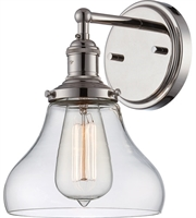 "Picture for category Wall Sconces 1 Light Fixtures With Polished Nickel Finish Metal Material E26 Bulb 7"" 100 Watts"