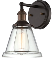 "Picture for category Wall Sconces 1 Light Fixtures With Rustic Bronze Finish Metal Material E26 Bulb 7"" 100 Watts"