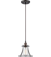 "Picture for category Pendants 1 Light Fixtures With Rustic Bronze Finish Metal Material E26 Bulb 8"" 100 Watts"