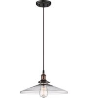 "Picture for category Pendants 1 Light Fixtures With Rustic Bronze Finish Metal Material E26 Bulb 14"" 100 Watts"