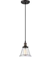 "Picture for category Pendants 1 Light Fixtures With Rustic Bronze Finish Metal Material E26 Bulb 7"" 100 Watts"