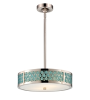 "Picture for category Pendants 3 Light Fixtures With Polished Nickel Finish Metal Material KolourOne Bulb 15"" 14.4 Watts"