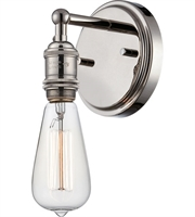 "Picture for category Wall Sconces 1 Light Fixtures With Polished Nickel Finish Metal Material E26 Bulb 5"" 100 Watts"
