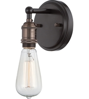 "Picture for category Wall Sconces 1 Light Fixtures With Rustic Bronze Finish Metal Material E26 Bulb 5"" 100 Watts"