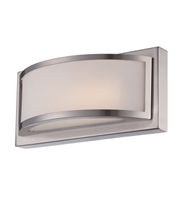 "Picture for category Wall Sconces 1 Light Fixtures With Brushed Nickel Finish Iron Material Rectangular LED Bulb 10"" 4.8 Watts"