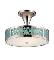 "Picture for category Semi Flush 2 Light Fixtures With Polished Nickel Finish Metal Material KolourOne Bulb 15"" 9.6 Watts"