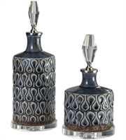 Picture for category Uttermost 18886 Decor Cobalt Blue and Brushed Nickel Ceramic/Metal/Crystal Varuna