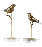 Picture for category Uttermost 18898 Decor Antiqued Gold Leaf Polyresin/Iron/Crystal Passerines