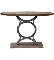 Picture for category Uttermost 25844 Tables Aged Steel and Light Walnut with Aged Gray Wash Jaawood with Iron Metal Wynn