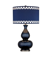 Picture for category Table Lamps 1 Light With Navy Blue With Black Nickel Ceramic Metal Medium Base 28 inch 150 Watts