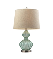 Picture for category Table Lamps 1 Light With Light Green Smoke Glass and Metal Medium Base 25 inch 9.5 Watts