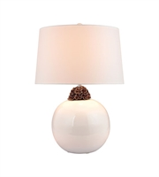 Picture for category Table Lamps 1 Light With White and Brown Finish Ceramic Material E26 Bulb Type 27 inch 150 Watts