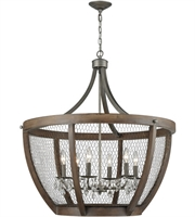 Picture for category Pendants 6 Light With Weathered Zinc Metal Wood Candelabra Base 33 inch 360 Watts