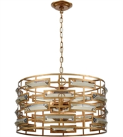 Picture for category Pendants 5 Light With Gold Leaf and Clear Crystal Metal Crystal E12 12 inch 300 Watts
