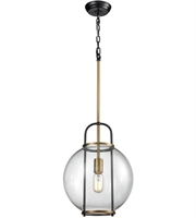 Picture for category Pendants 1 Light With Aged Brass and Black Finish Metal Glass Material E26 Bulb Type 53 inch 100 Watts