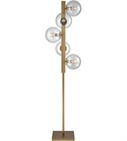 Picture for category Floor Lamps 5 Light With Aged Brass and Clear Finish Metal Glass Material CFL Bulb Type 68 inch 65 Watts
