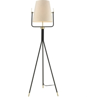 "Picture for category Black and Brass Tone Finish Floor Lamps 18"" Wide Metal Faux Silk 1 Light Fixture"