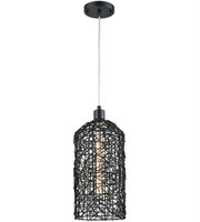 Picture for category Pendants 1 Light With Black Finish Rattan Material E26 Bulb Type 15 inch 0 Watts