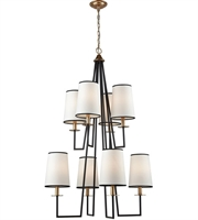 Picture for category Chandeliers 8 Light With Oil Rubbed Bronze and Antique Gold Leaf Metal E12 48 inch 0 Watts