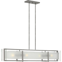 "Picture for category Island Lighting 4 Light Fixtures With Brushed Nickel Finish Steel Material Medium Bulb 42"" 400 Watts"