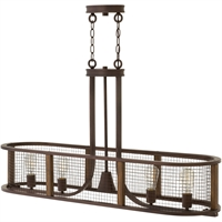 "Picture for category Iron Rust Tone Finish Island Lighting 43"" Wide Steel Medium Type 4 Light Fixture"