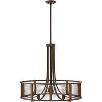 "Picture for category Iron Rust Tone Finish Pendants 31"" Wide Steel Material Medium Type 5 Light Fixture"