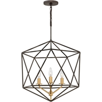 "Picture for category Pendants 3 Light Fixtures With Metallic Matte Bronze Finish Steel Material Candelabra Bulb 20"" 180 Watts"