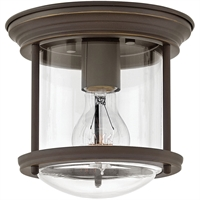 "Picture for category Flush Mounts 1 Light Fixtures With Oil Rubbed Bronze Finish Steel Material Medium Bulb 8"" 100 Watts"