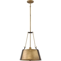 "Picture for category Pendants 1 Light Fixtures With Rustic Brass Finish Steel Material Medium Bulb 15"" 100 Watts"