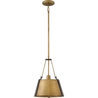 "Picture for category Pendants 1 Light Fixtures With Rustic Brass Finish Steel Material Medium Bulb 12"" 100 Watts"
