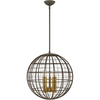 "Picture for category Pendants 5 Light Fixtures With Oiled Bronze Finish Steel Material Candelabra Bulb 19"" 300 Watts"