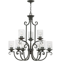 "Picture for category Olde Black Tone Finish Pendants 30"" Wide Metal Material Medium Type 9 Light Fixture"